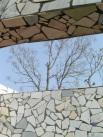 China mosaic frames a blue sky